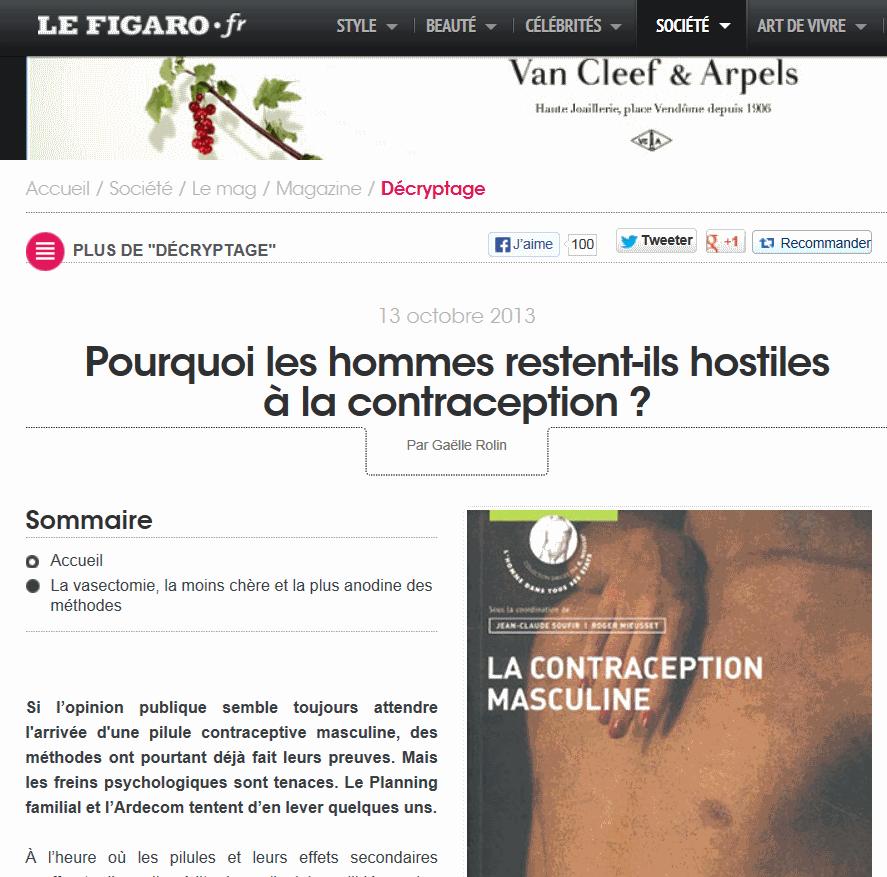 La presse en parle ... Le FIgaro (13 octobre 2013) dans chirurgie contraceptive figaro1